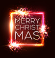 christmas lights background square neon frame vector image