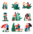 collection of happy young men and women on dates vector image vector image