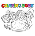 coloring book thanksgiving image 3 vector image vector image
