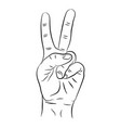 contour hand two fingers victory sign or peace vector image
