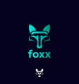 creative circle fox logo modern glass fox logo vector image vector image