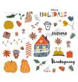 cute autumn collection set fall harvest season vector image vector image