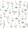 cute seamless pattern with goose and doodle vector image vector image
