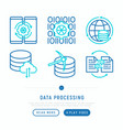 data processing with thin line icons vector image