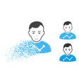 dissipated pixelated halftone user stats icon with vector image vector image
