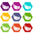 double buckle belt icons set 9 vector image