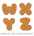 gingerbread letters isolated on white vector image vector image