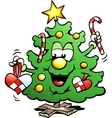 Hand-drawn of an Happy Christmas Tree vector image vector image