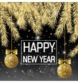Happy New Year Golden spruce twigs and golden vector image vector image