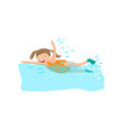 happy smiling girl swimming in flippers in pool vector image