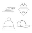 headgear and cap icon set vector image