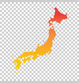 japan map colorful orange vector image vector image
