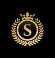 letter s royal crown logo vector image