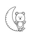 line teddy bear seated in the moon vector image vector image