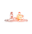 man and woman in love romantic date in park vector image vector image