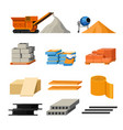 materials for building and truck or concrete mixer vector image