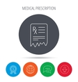 Medical prescription icon Health document sign