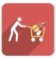 Medical Shopping Flat Rounded Square Icon with vector image vector image