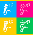 microphone sign with music notes four styles of vector image vector image