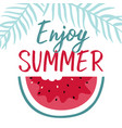 minimal summer with slice watermelon and vector image vector image