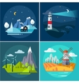 Mountains and Water Landscape Set vector image vector image