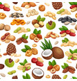 nuts seeds and grains seamless pattern vector image