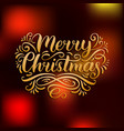ornate merry christmas lettering on blurred vector image vector image