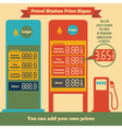 Petrol station price signs vector image vector image