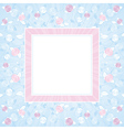 pink and purple roses on blue square background vector image