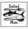 retro emblem for kitchen with fish spoon and fork vector image vector image