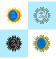 rhinovirus cell icon set in flat and line style vector image vector image
