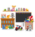 room with blackboard and many toys vector image vector image