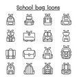 school bag icon set in thin line style vector image vector image