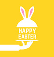 serving hand with happy easter bunny vector image vector image