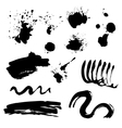 Set of black ink stains