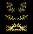 Set Of Golden Vintage Ornaments With Floral Elemen vector image vector image