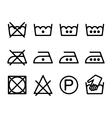 Set of instruction laundry icons washing symbols vector image vector image