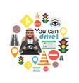set of road symbols and driver arab businessman vector image vector image