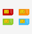 set of sim cards of different colors phone chip vector image vector image