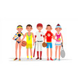 summer sports set of players in boxing vector image vector image
