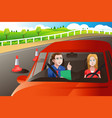 teenager in a road driving test vector image vector image