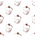 Tile pattern with brown cherry cupcakes vector image vector image