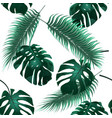 tropical palm leaves jungle thickets seamless vector image vector image