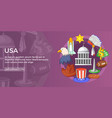 Usa travel banner horizontal cartoon style vector image