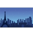 View of eiffel tower silhouette vector image