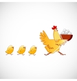Chicken carries a bowl with the eggs vector image