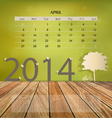 2014 calendar monthly calendar template for April vector image vector image