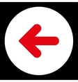 Arrow Left flat red and white colors round button vector image