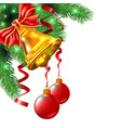 background from christmas balls bell and bow are vector image vector image
