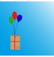 Balloons flying with box vector image vector image